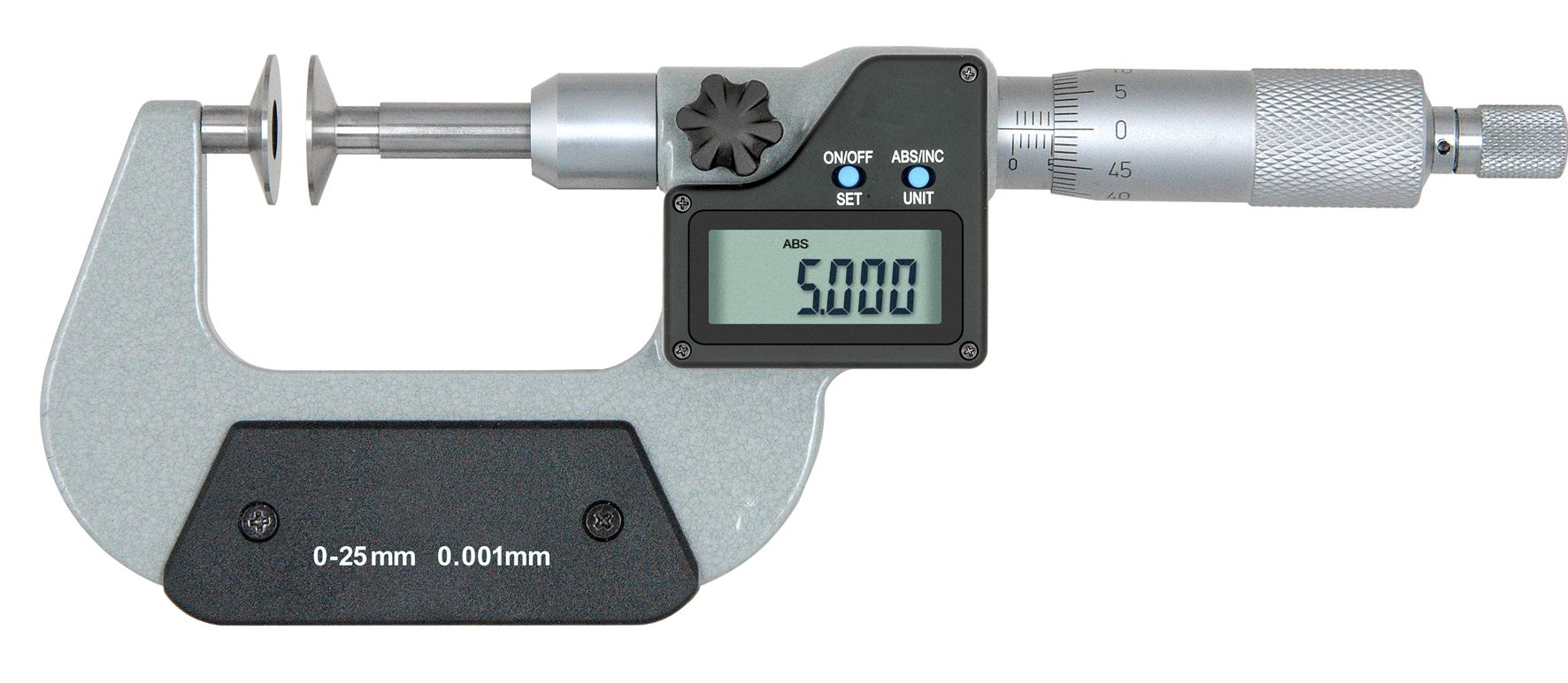 digital mikrometer mit teller messfl chen 0 25 mm ip65 smt messzeuge. Black Bedroom Furniture Sets. Home Design Ideas